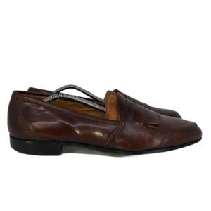 Bally Mens Brown Fringe Strap Loafers Shoes Sz 11